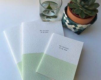 Large A5 personalised notebook, personalised stationery, handstitched note book, green, blue, yellow, pink,