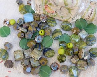 Bead Mix Assortment Green Glass Beads