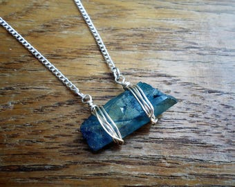 Horizontal Aura Quartz Necklace - Sideways Quartz Crystal Necklace - Raw Crystal Jewelry - Wire Wrapped Crystals - Handmade Gifts