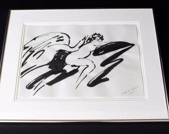 Mid Century Modern Ink Wash Drawing Signed Dated by Reuben Nakian Black 1977