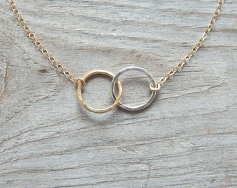 Two circles necklace, Dainty necklace, Infinity Necklace, Two Circle Necklace, Mother Child necklace, Gift, Dainty jewelry