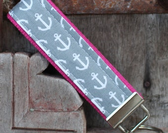 READY TO SHIP-Beautiful Key Fob/Keychain/Wristlet-White Anchors-Gray/Hot Pink