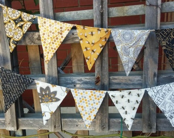 Bee bunting, flags, garland or banner - golden yellows, greys, creams and blacks