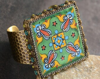 Talavera Tile Hammered Cuff Bracelet, Tile Bracelet, Rustic Jewelry, Mexican Bracelet, Vintage Boho Jewelry, Ceramic Tile Jewelry BR566