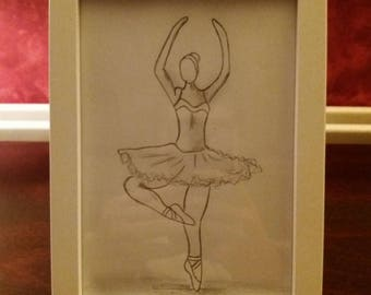 7x5 ballerina hand sketch with frame