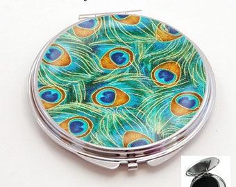 miroir de poche refermable , cabochon resine plume, paon,oiseau