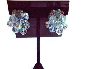 Vintage Blue Crystal Cluster Dangle and Drop Earrings Bridal 1950s