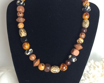 Colorful Multi-wood and nut necklace