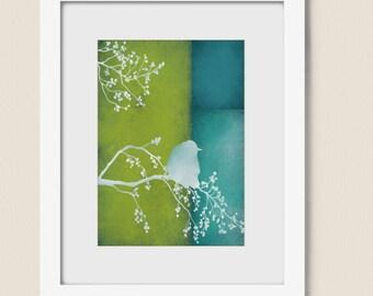 Blue and Lime Green Bird Home Wall Art Print 5 x 7 Living Room Wall Decor (72)