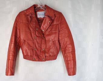 Vintage CASABLANCA Burnt Orange Double Breasted Bomber Jacket 11/12 Bust 38