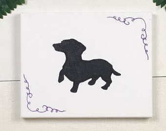 Dog Art | Dog Wall Art | Dog Wall Decor | Dog Decor | Wiener Dog Silhouette | Dachshund Silhouette | Gift for Dog Lovers