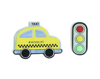 taxi sticker, traffic light sticker, puffy sticker