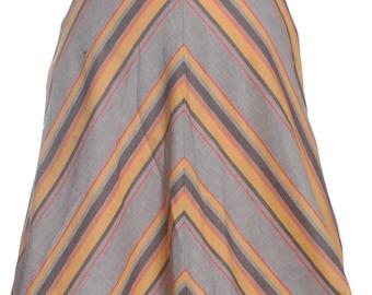 Vintage 1960's A-Line Striped Skirt W24 8 - www.brickvintage.com