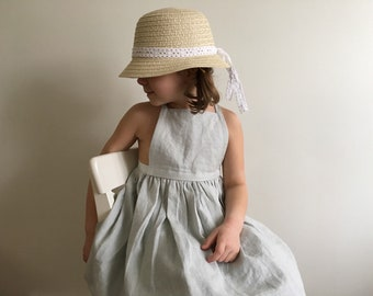 GIRLS PINAFORE || girls XS pale mint green 5-7