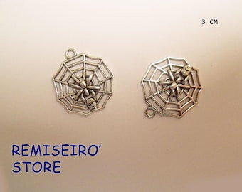 set of 2 silver metal Spider Web pendants