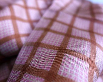 Rare Vintage Plaid Check Silk Marquisette Fabric Silk Pink Brown White Squares Grid Transparent Drapey