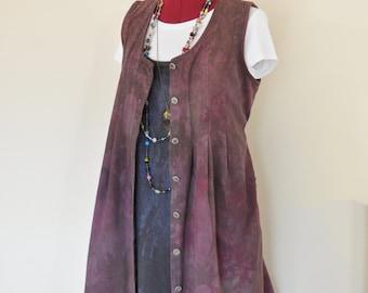"Wine Medium Denim DRESS - Dark Red Brown Dyed Upcycled Dan Howard Denim MATERNITY Jumper Vest Dress - Adult Womens Size Medium (42"" chest)"