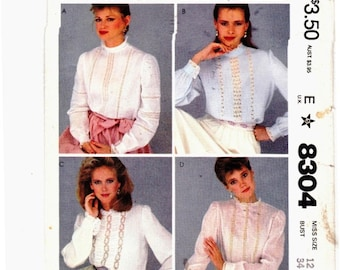 "McCalls 8304 Beautiful Blouses Insertion Lace Vintage  Size 12 Bust 34"" Uncut Sewing Pattern"