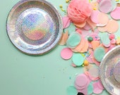 Mini Disco Sparkle Plates - iridescent holographic sparkly plates - appetizer plate - birthday wedding shower valentine galentine's  - first