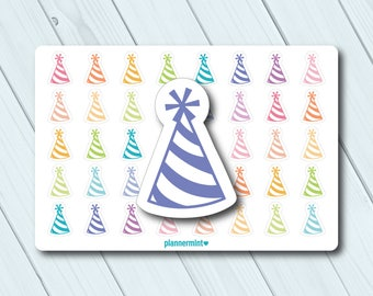 Birthday Planner Stickers - Party Hat Icon - Erin Condren Life Planner - Happy Planner - Kikki K - Personal - Mambi - Matte or Glossy