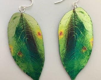 Green Real Leaf Nature Earrings, Forest Earrings, Goddess Earrings, Nature Gift, Real Leaf, Nature Jewelry