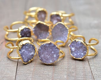 Gold Natural Druzy Ring/ Simple Adjustable Brown Grey Druzy Natural Gemstone Gem Mineral / Statement Simple Ring (RFF13)