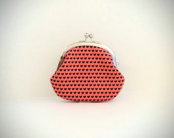 Coin Purse- Change pouch- Kiss Lock Coin Case- Mini Hearts on Red