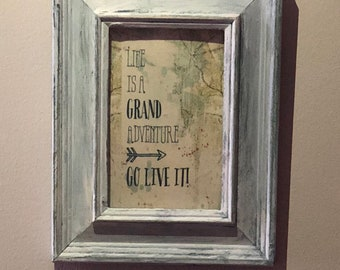Life is a grand adventure distressed frame gallery wall art travel map