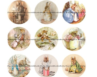 Instant Download Beatrix Potter books illustrations 25mm 1inch Circles - Digital Collage Sheet