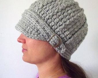 Womens Hat Womens Beanie Womens Cap Adult Hat Adult Beanie Adult Cap Silver Gray Hat Winter Hat Crochet Hat Knit like Buckle Beanie Warm