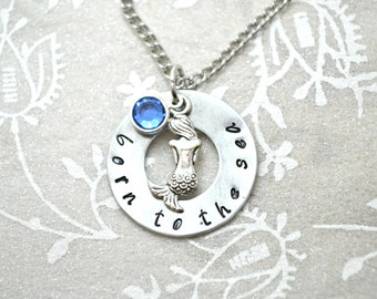 Mermaid Necklace, Beach Necklace, Washer Necklace, Mermaid Jewelry, Stamped Necklace, Custom Necklace, Birthstone Necklace, Ocean Necklace