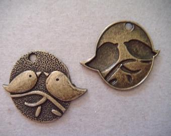 1 x LOVE bird couple bronze 29 x 25 mm