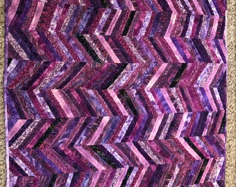 """Purple Tones String Quilt, Hand Quilted, 45"""" X 39"""", Lap Quilt, Baby Quilt, Wall Hanging"""