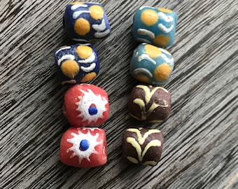 Pairs of African Krobo Bead, African Trade Bead, Ghana Bead, Glass Bead, African Glass Beads, African Beads, Beads