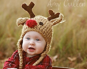 Baby Hat - Reindeer Hat - Baby Reindeer Hat - Christmas  Photo Prop - Newborn Deer Hat - Cute and Soft Ear flap - by JoJosBootique