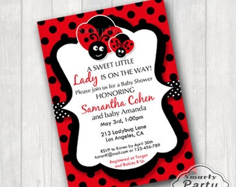 Ladybug Baby Shower Invitations Invite Printable Personalized Polka dot Customized 5x7 or 4x6