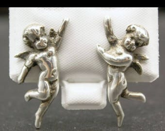 RARE Antique STERLING CHERUB Silver Earrings ~