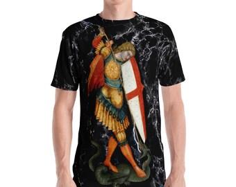 Saint Michael the Archangel Men's T-shirt - St Michael shirt - holy art - angels - religious gift for him - sacred art