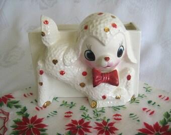 RARE Vintage LAMB Deer PLANTER Polka Dot Collectible Figurine