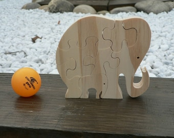 Puzzle Elephant and her baby wooden cut out
