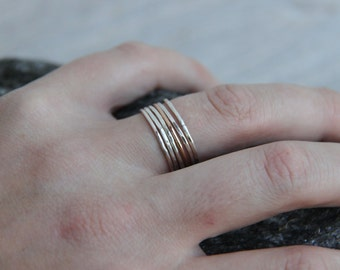 extra thin sterling silver ring, Mixed metal ring, stacking ring set, mix and match rings, 14 K gold silver