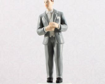 Wedding Cake Topper, Groom In Grey Tux Cake Topper, Wedding Cake Top, Groom Cake Topper, Groom Figurine