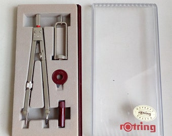 Vintage Rotring Set Metal Compass. Vintage Compass. Vintage Compass Made in West Germany.