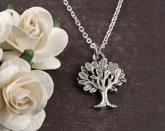 Family Tree Necklace, Silver tree jewelry, Tree of Life necklace