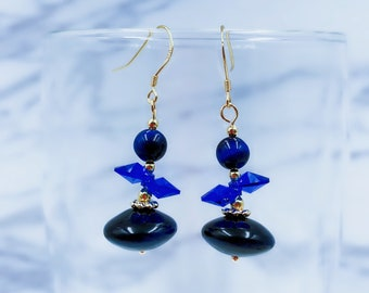 Blue Onyx and Swarovski Crystal Earrings