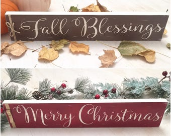 Reversible Holiday Sign - Fall Wood Sign - Merry Christmas Wood Sign - Double Sided Fall and Christmas Decor - Holiday Gift -Fireplace Decor