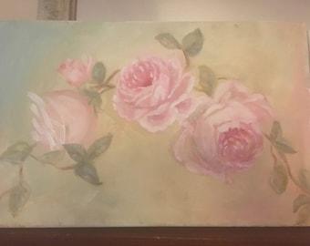 Shabby chic rose painting