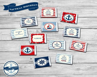 Nautical Birthday Party Theme - Personalized Mini Candy Bars Printable/DIY Printable