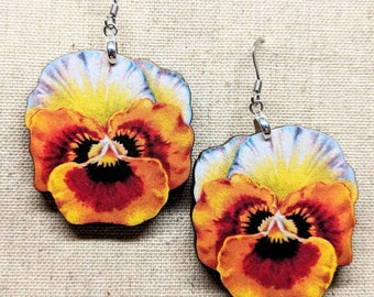 Flower Earrings / Laser Cut Wood Earrings / Stainless Steel / Hypoallergenic / Flower Jewelry / Summer Earrings / Pansy Earrings