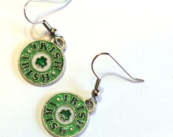 Luck of the Irish Earrings - St. Patrick's Day - IRISH charm with four leaf clover in the center - holiday jewelry